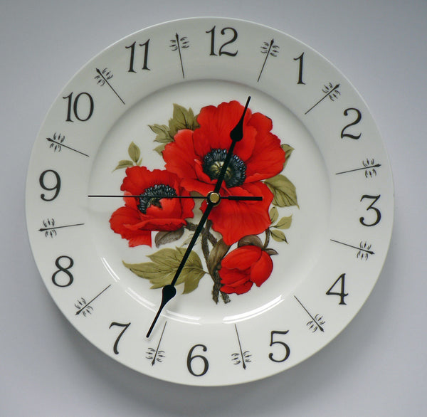"Poppy design 11"" large ceramic wall clock - Beautiful bright red"