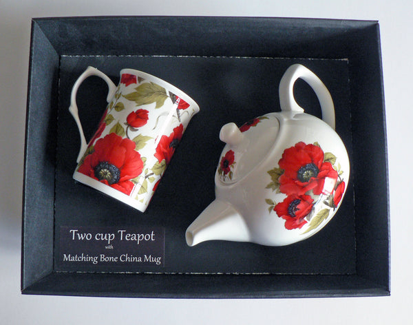 Poppy 2 cup teapot,with matching bone china mug - gift boxed