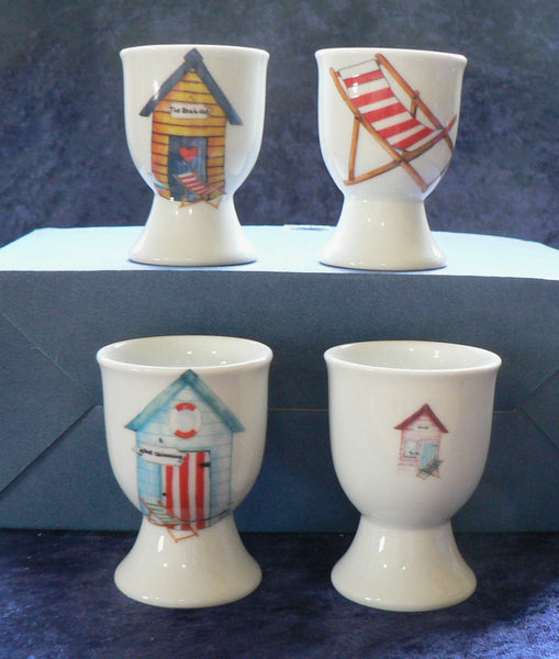 Beach Huts egg cups eggcups porcelain set of 4 different in each set -