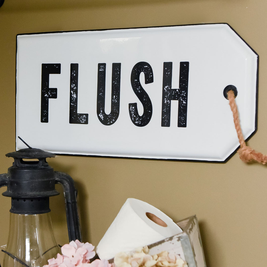 Vintage Embossed Metal FLUSH Sign
