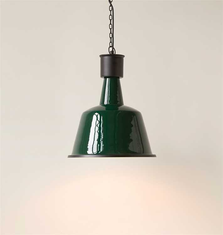 Enameled Iron Pendant Light, Green