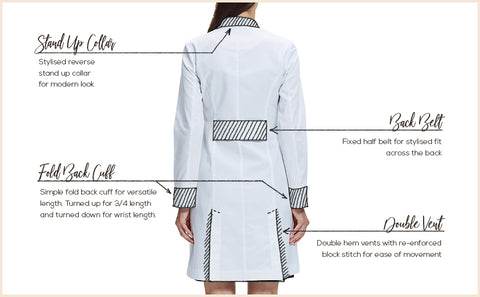 designer fitted lab coat for women