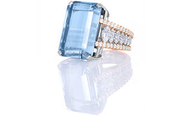 Aquamarine Emerald Cut with Marquise Side Stone Ring