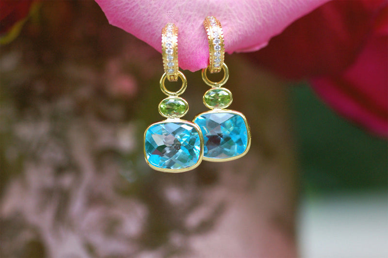 Blue Topaz and Peridot Charm Earrings