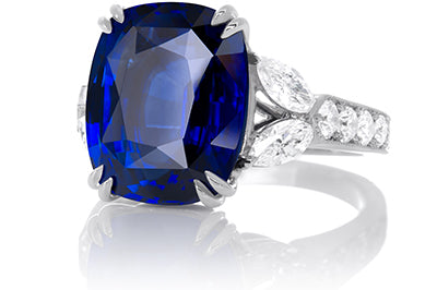Exceptional Blue Sapphire and Marquise Shape Ring