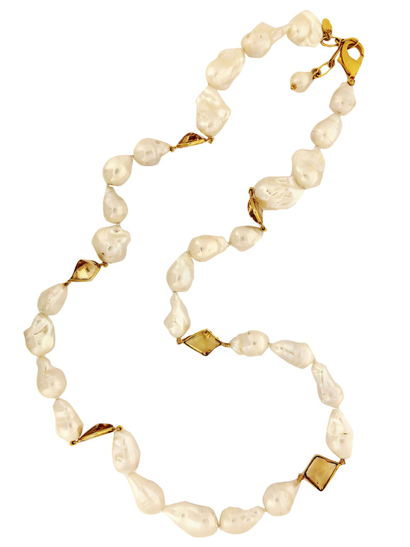 Long Pearl Citrine Necklace