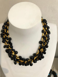 21kt Gold Plated Five Strand and Faceted Onyx Heart Shape Necklace, Jaded Jewels