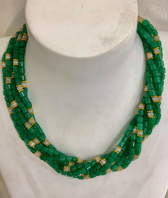 Seven Strand Green Agate and Faceted Moon Stone Rondelles Necklace, Jaded Jewels
