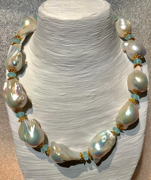 Baroque Pearl and Faceted Calcite Necklace by Jaded Jewels