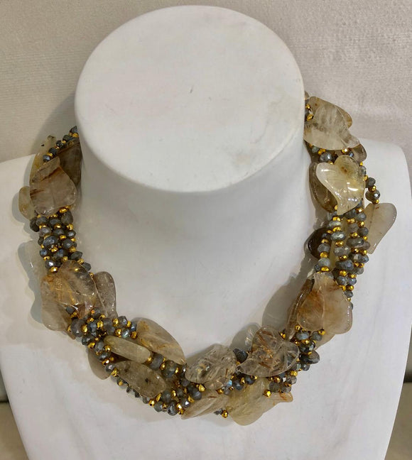 Six Strand Rutilated Quartz and Labradorite Necklace, Jaded Jewels