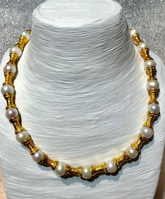 Jaded Jewels, necklace 21 gold plated spaces  and  pearl $425.00