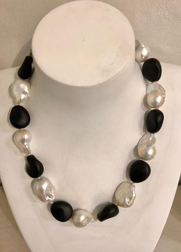 Baroque Pearl and Satin Onyx Necklace by Jaded Jewels