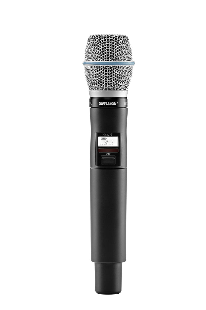 Shure QLXD2/BETA87A Digital Handheld Wireless Microphone Transmitter With Beta 87A Supercardioid Microphone