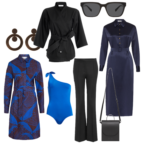 the wearness edit in black and royal blue Seidenkleider fair