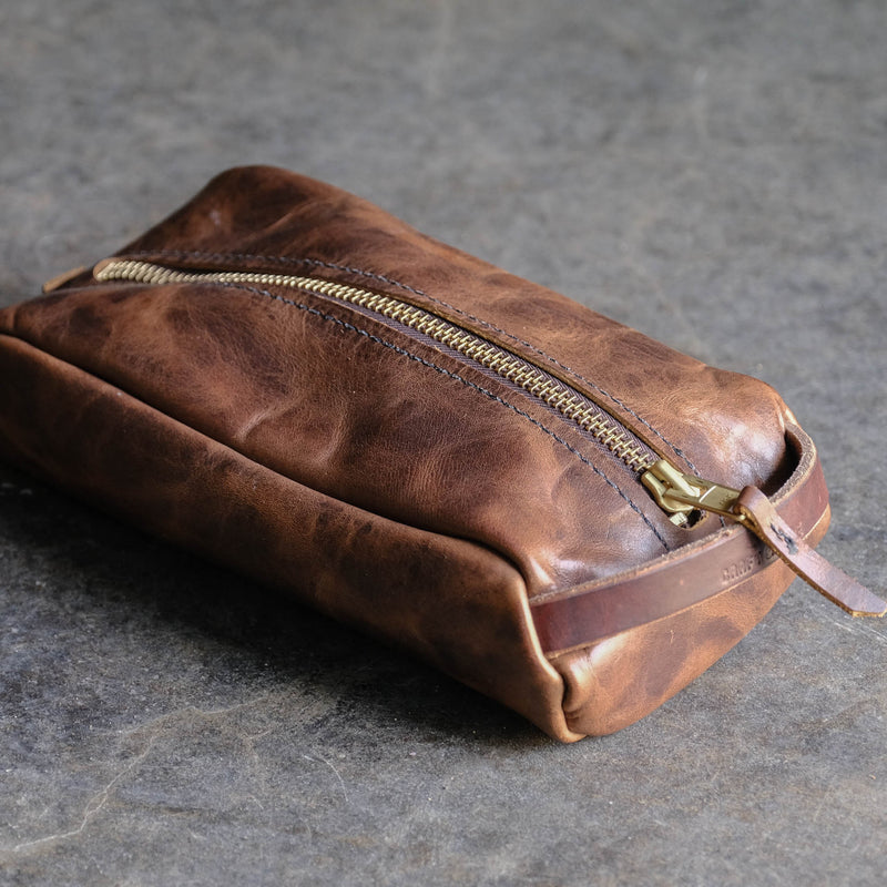 Leather Dopp Kit Wetshave Makeup bag for travel USA Made by Folkland Mfg