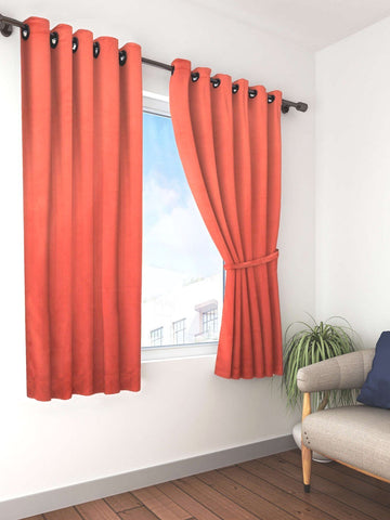 Bianca Rust Solid Premium Blackout Window Curtain (WC109)