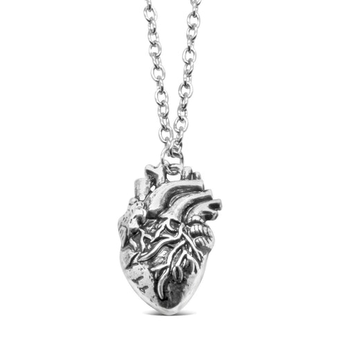 Anatomical Heart Necklace in Silver-Tone