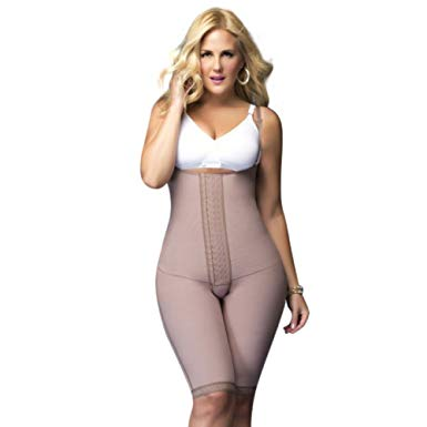 Braless Knee-Length Girdle with Adjustable Straps