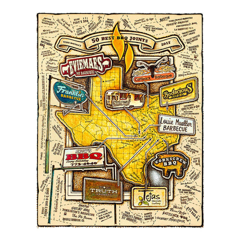 Map of Texas Monthly 50 Best BBQ Joints