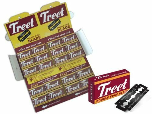 100 X Treet Double Edge Razor Blades Carbon Steel