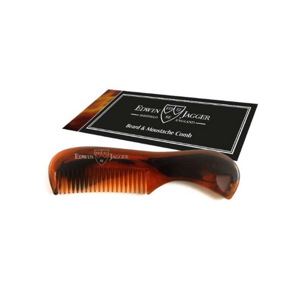 Edwin Jagger Tortoiseshell Beard & Moustache Comb Edwin Jagger Tortoiseshell colour moustache comb  Small, plastic moustache comb Available in 3 colour options Branded Edwin Jagger Ideal for maintaining and grooming facial hair Use with Edwin Jagger beard and moustache products Dimensions: 73mm by 17mm