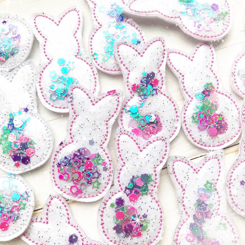 Exclusive Glitter & Confetti Filled Bunny Silhoutte Felties- Small