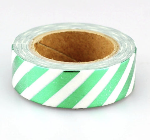 Luxury Paper Foil Washi Tape- Green Stripes