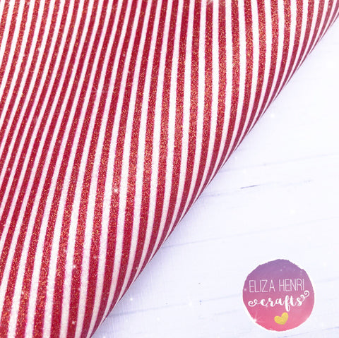 red and white stripey glitter fabric
