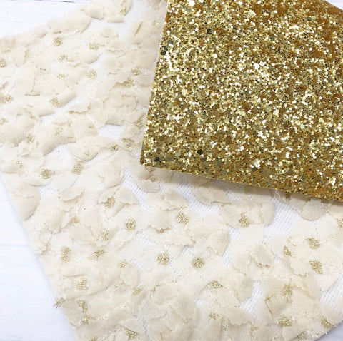EHC Double Sided Gold Glitter Lace Fabric