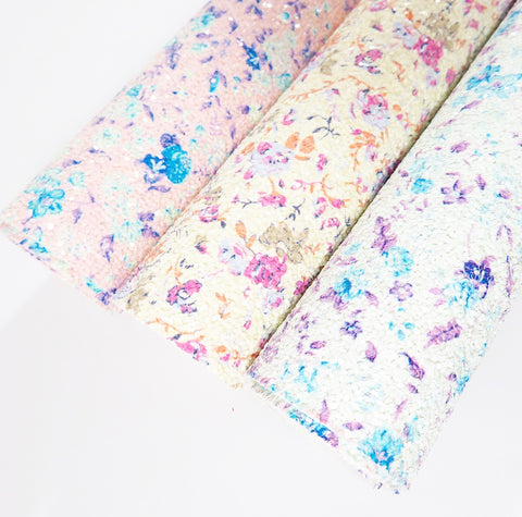 We Just Bloom Floral Chunky Glitter Fabrics