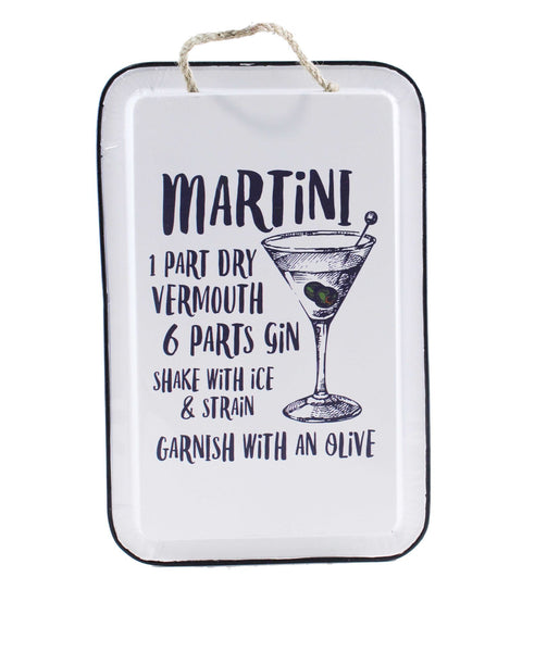 MARTINI RECIPE METAL SIGN