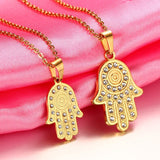Gold Hamsa Hands Crystal Pendant Necklace *** FREE SHIPPING *** - Delivered Value