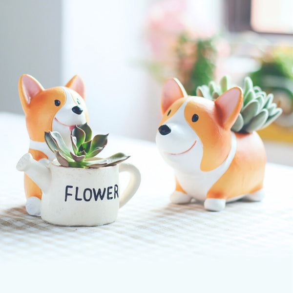 Corgi Resin Mini Flowerpot Planter - CuteFTW