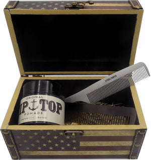 Steeltooth comb, Steeltooth new standard comb, and tip top pomade in an american flag box.