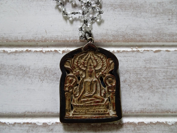 "Large Meditating Buddha Pendant Necklace | 28"" Long Crystal Beaded Chain"