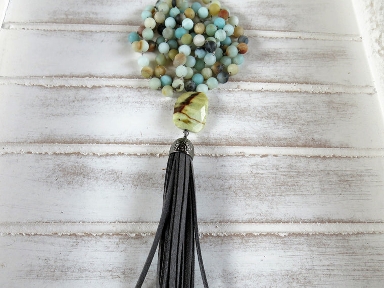 108 Hand Knotted Meditation Necklace | Natural Stones | Tassel