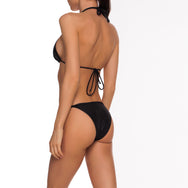 ATINA BIKINI SET IN BLACK WET-EFFECT