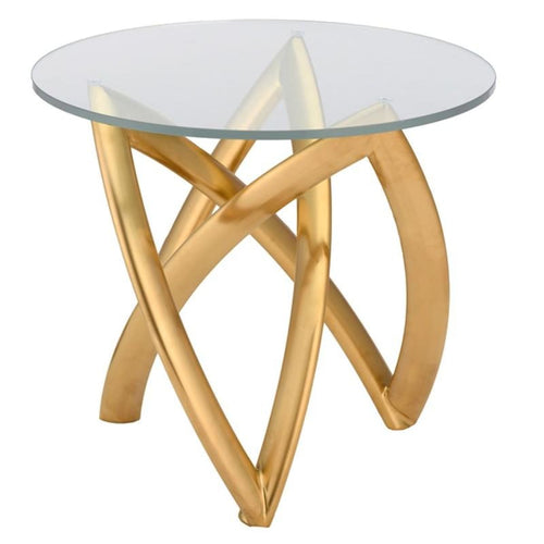 DARIEL SIDE TABLE CLEAR BRUSH GOLD - END TABLE