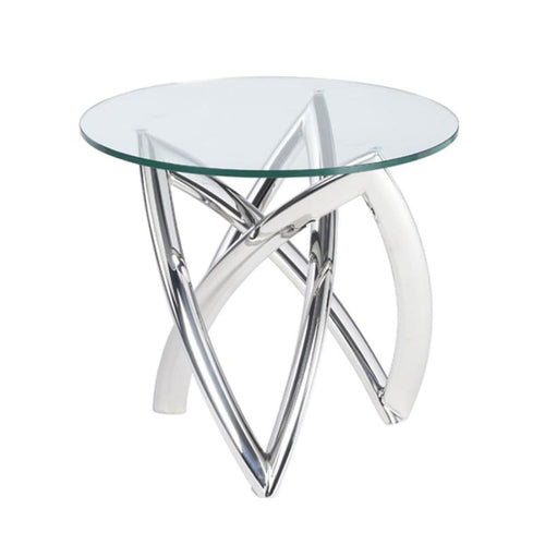 DARIEL SIDE TABLE CLEAR STAINLESS - END TABLE
