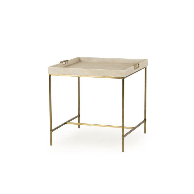 JAXON TRAY SIDE TABLE (IVORY SHAGREEN) - End tables