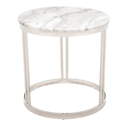 PEMTON SIDE TABLE WHITE WHITE STAINLESS - coffee tables