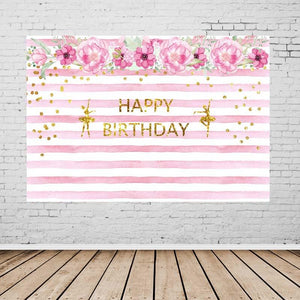 Birthday Party Backdrops Flowers Background Pink Backdrops G-130-1