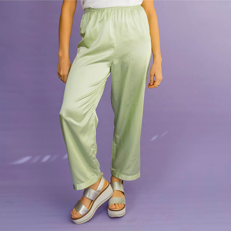 Citrus Green Satin Pants