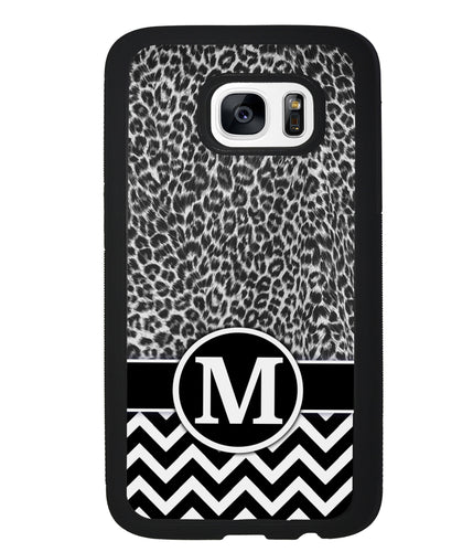 Black and White Leopard Skin Chevron Initial | Samsung Phone Case