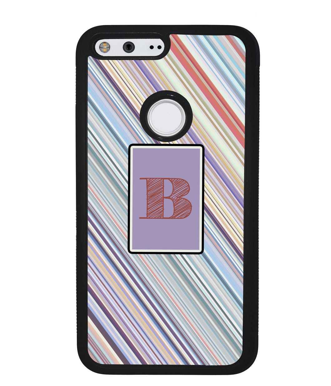 Candy Stripe Square Initial | Google Phone Case