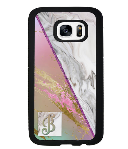 Pastel Unicorn Marble White Marble Initial | Samsung Phone Case