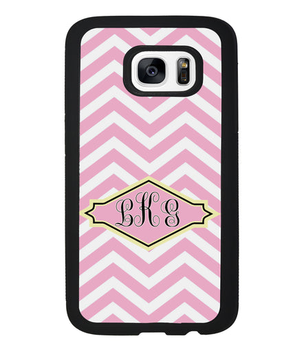Pink Lemonade Chevron Monogram | Samsung Phone Case