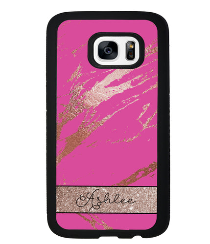 Pink and Gold Marble Personalized | Samsung Phone Case
