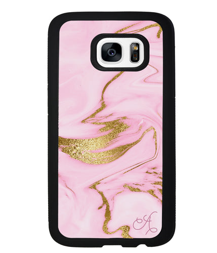 Pink and Gold Initial | Samsung Phone Case