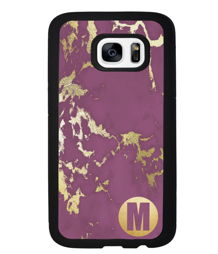 Purple and Gold Marble Initial | Samsung Phone Case